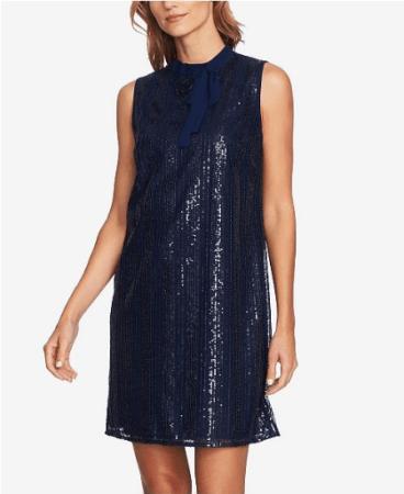 blue sequined shift dress