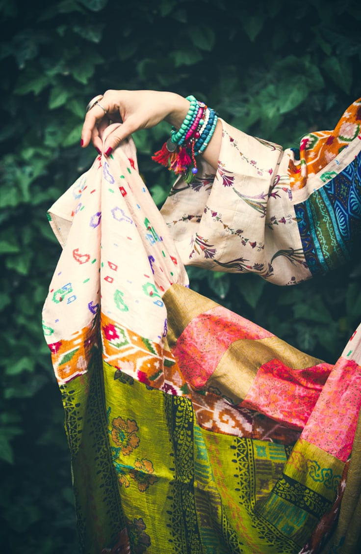 Woman wearing bohemian style dress