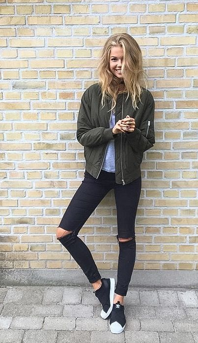 Bomber jacket outfit with jeans and t shirt