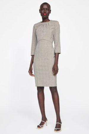 Gray checked sheath dress
