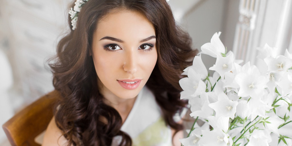 close up of bride with makeup on