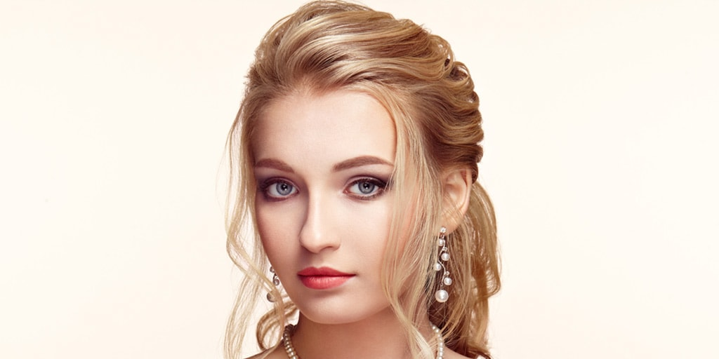 Woman with stylized ponytail