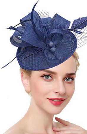 Woman wearing blue fascinator hat