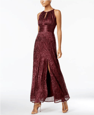 Wine colored dress with waist band