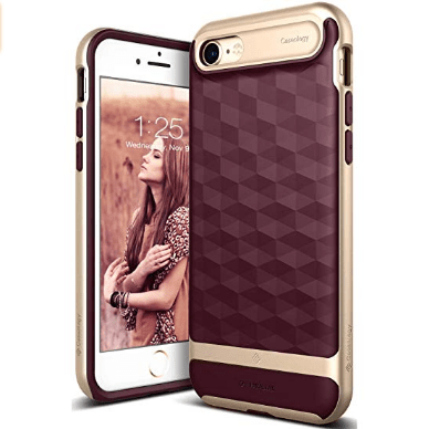 Burgundy and gold iphone case