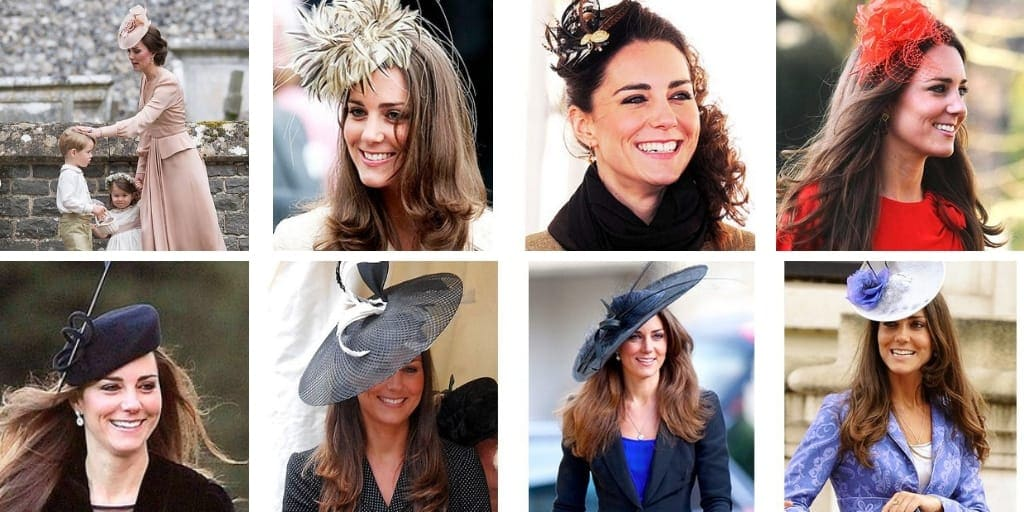 Collage of eight photos of Kate Middleton wearing fascinator hats