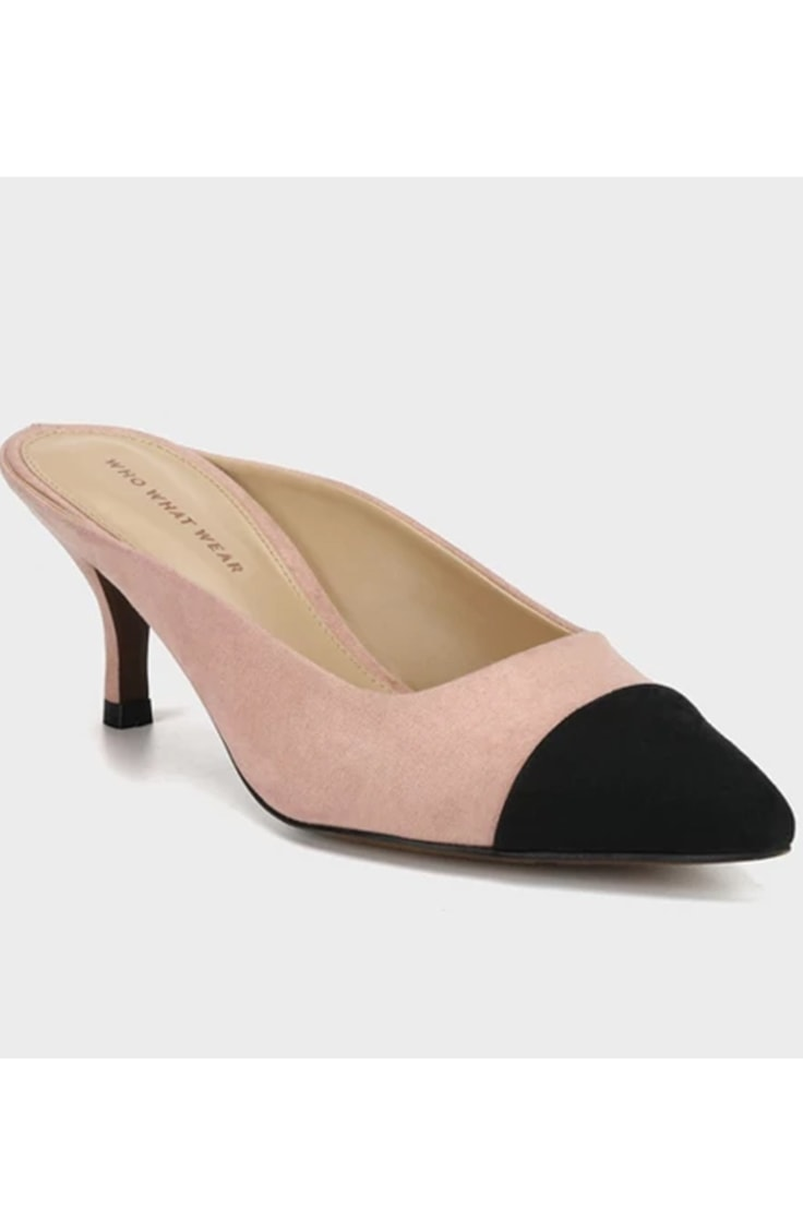 PInk and black open back kitten heel shoe