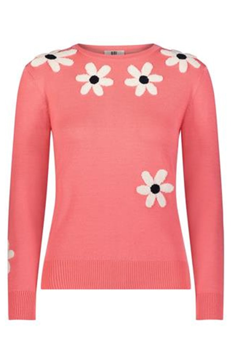 coral sweater with flower detail