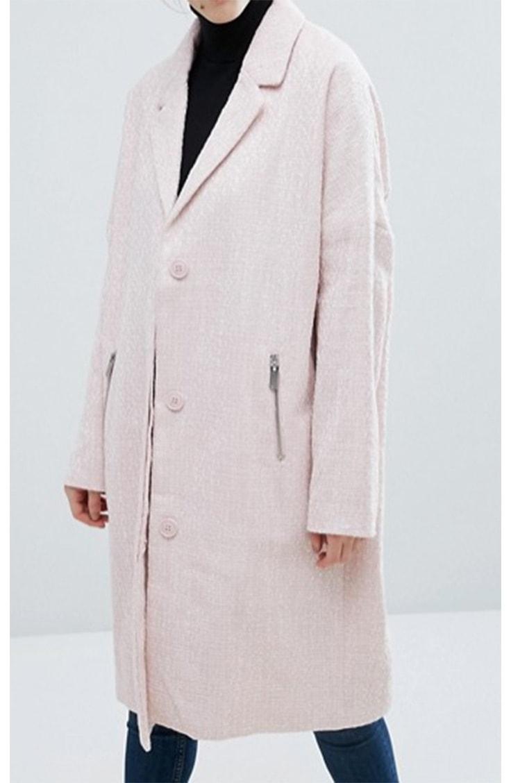 Soft pink oversized trenchcoat