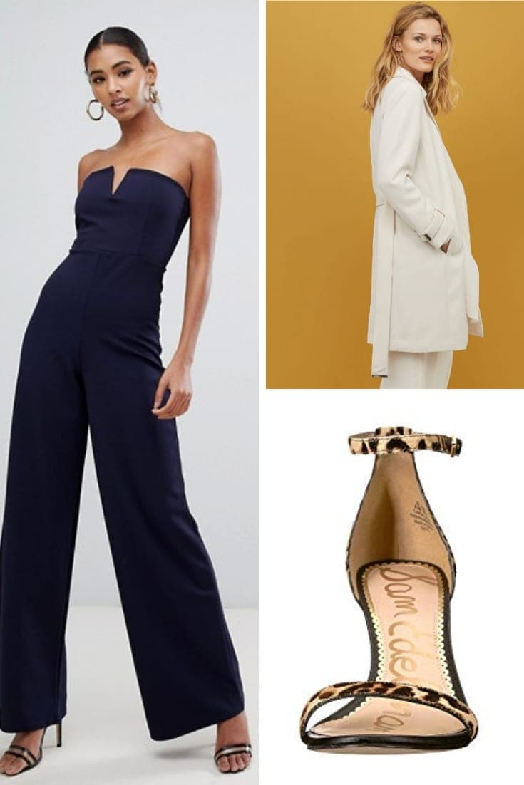 Outfit collage: navy jumpsuit, heels and coat