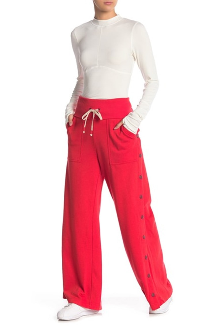 Red casual pants with buttons