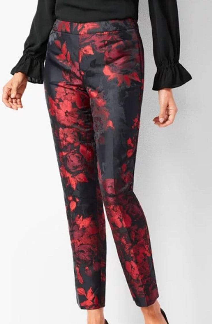 Red floral ankle pants