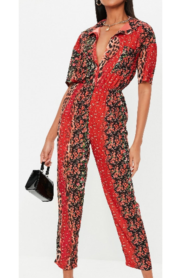 red floral jumpsuit with animal print