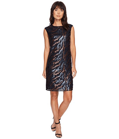 Sequined shift dress with pink and blue