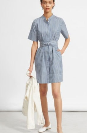 Blue and white striped shirt dress for the office