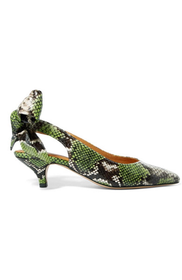 Green snake print kitten heels
