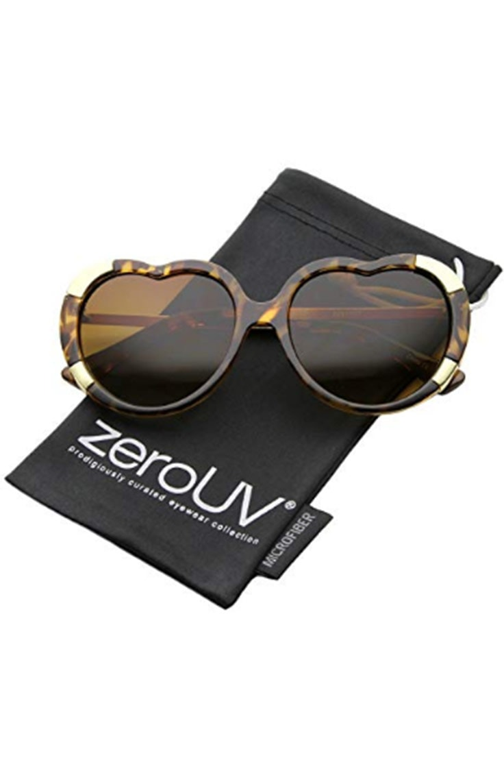 Sunglasses with heart-shaped frames