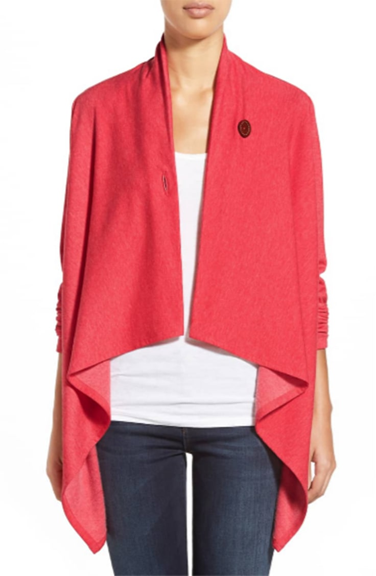 Coral fleece wrap cardigan