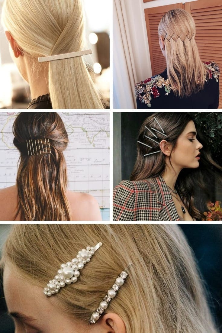 Collage of hairstyles with accessories