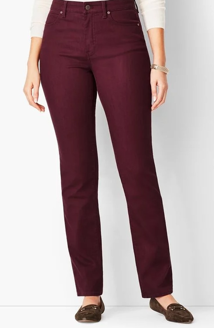 Dark red jeans for work