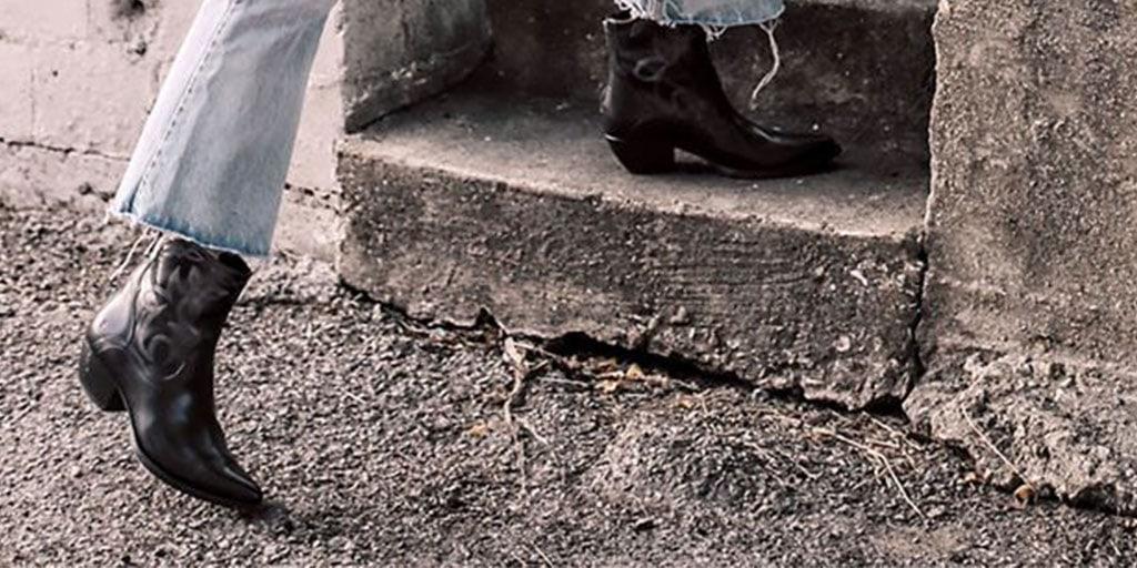 Close up of black cowboy boots