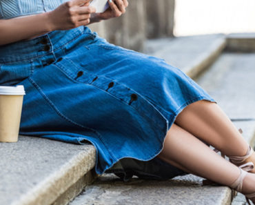Long denim skirt outfit with strappy sandals and tank top
