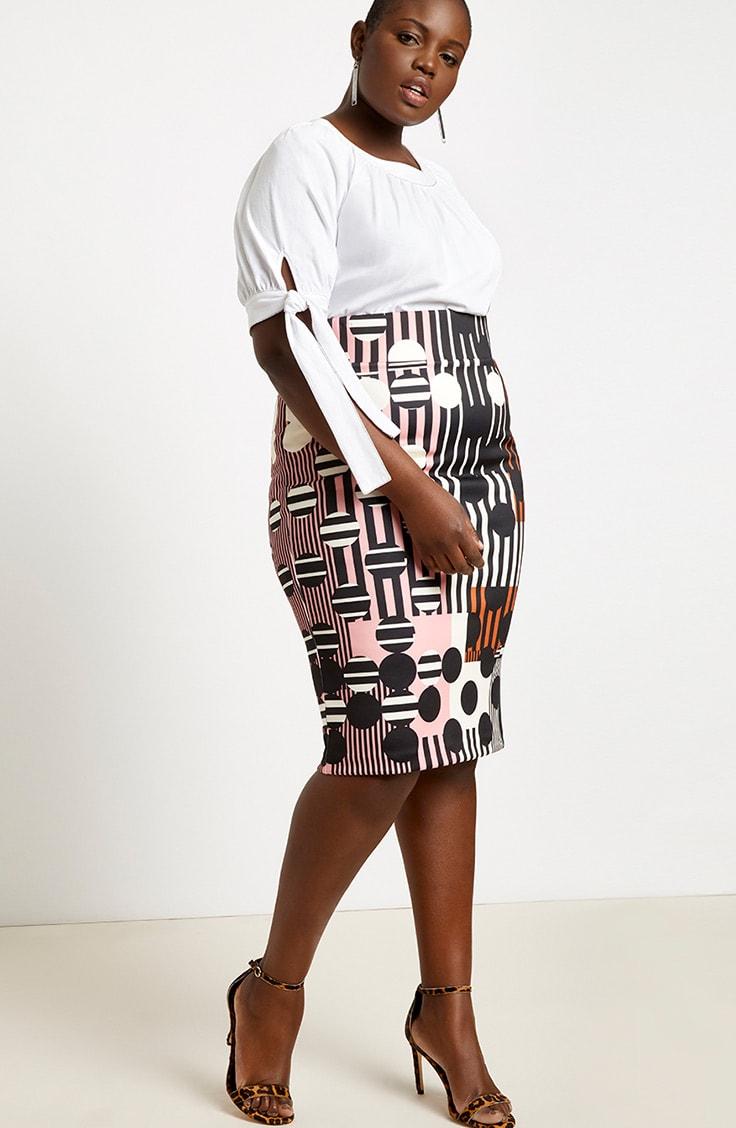Patterned plus size pencil skirt
