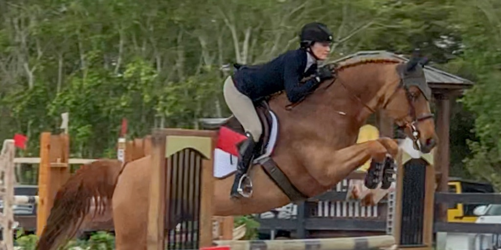 Woman and horse in the show ring, jumping over a fence