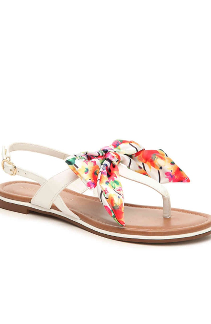 Mothers day gift idea under $40 -- flat sandals with floral detail