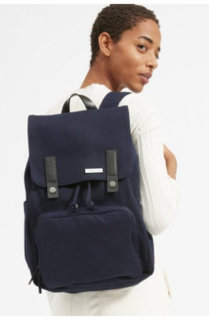 Navy backpack with leather detail