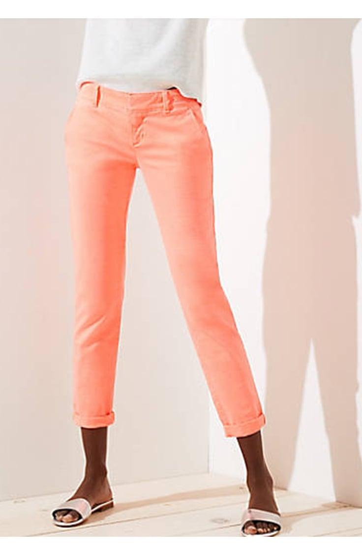 Muted neon chino pants