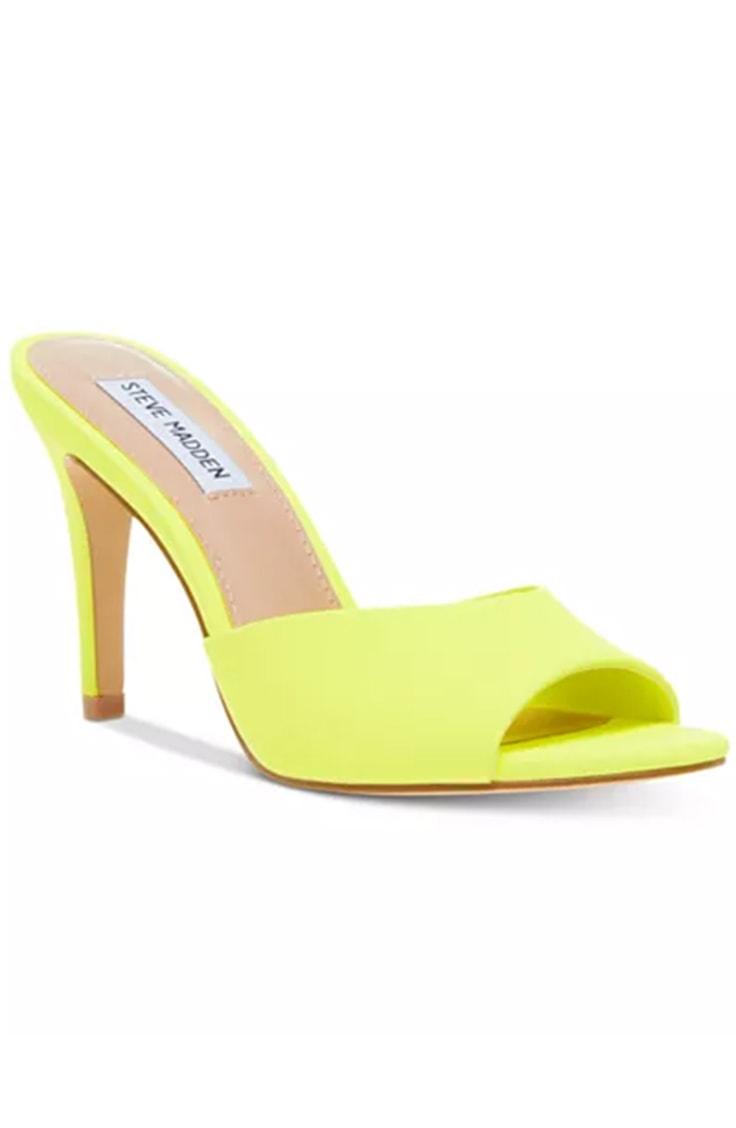 Neon yellow heeled sandals