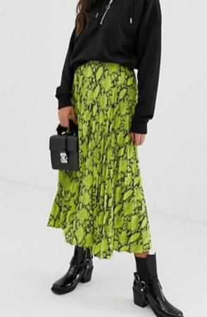 Green neon snakeprint midi skirt