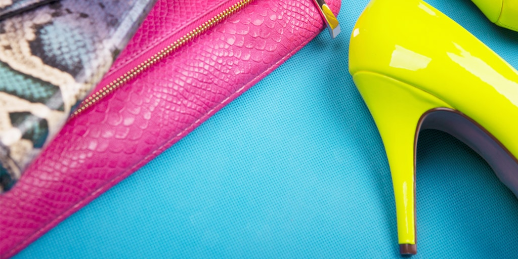 Neon yellow shoes and fuscia handbag