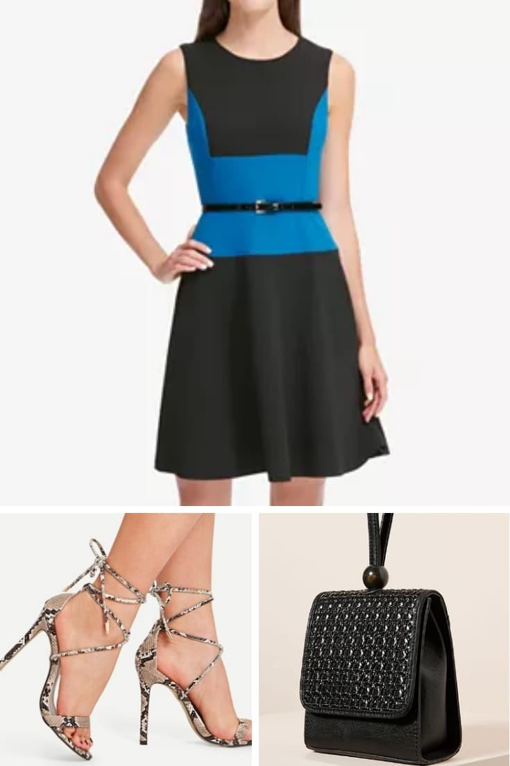 Outfit collage with a-line dress, strappy heels and black bag