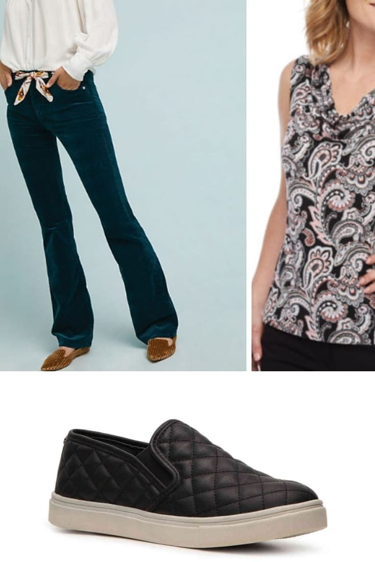 Outfit collage for a pear-shaped body: bootcut pants, cowl neck top and sneakers