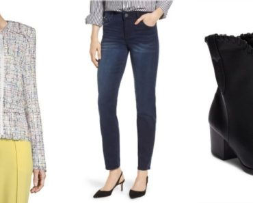 Outfit collage for petite women: blazer, jeans and ankle boots