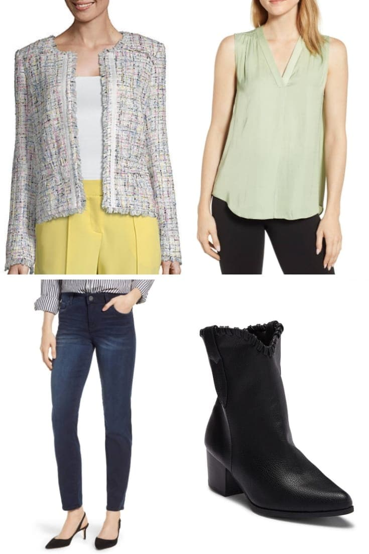 Outfit idea for petite women: Blazer, top, jeans and ankle boots