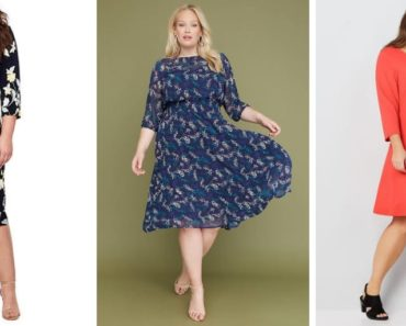 Collage of three dresses in plus size for pear-shaped ladies