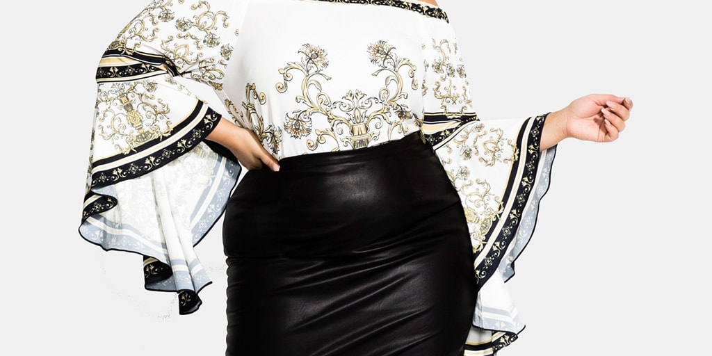 Leather look plus size pencil skirt