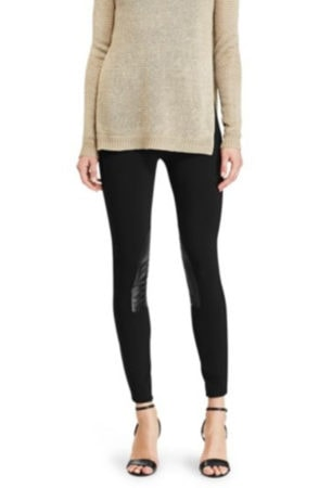 Black leggings with knee patch, equestrian inspired