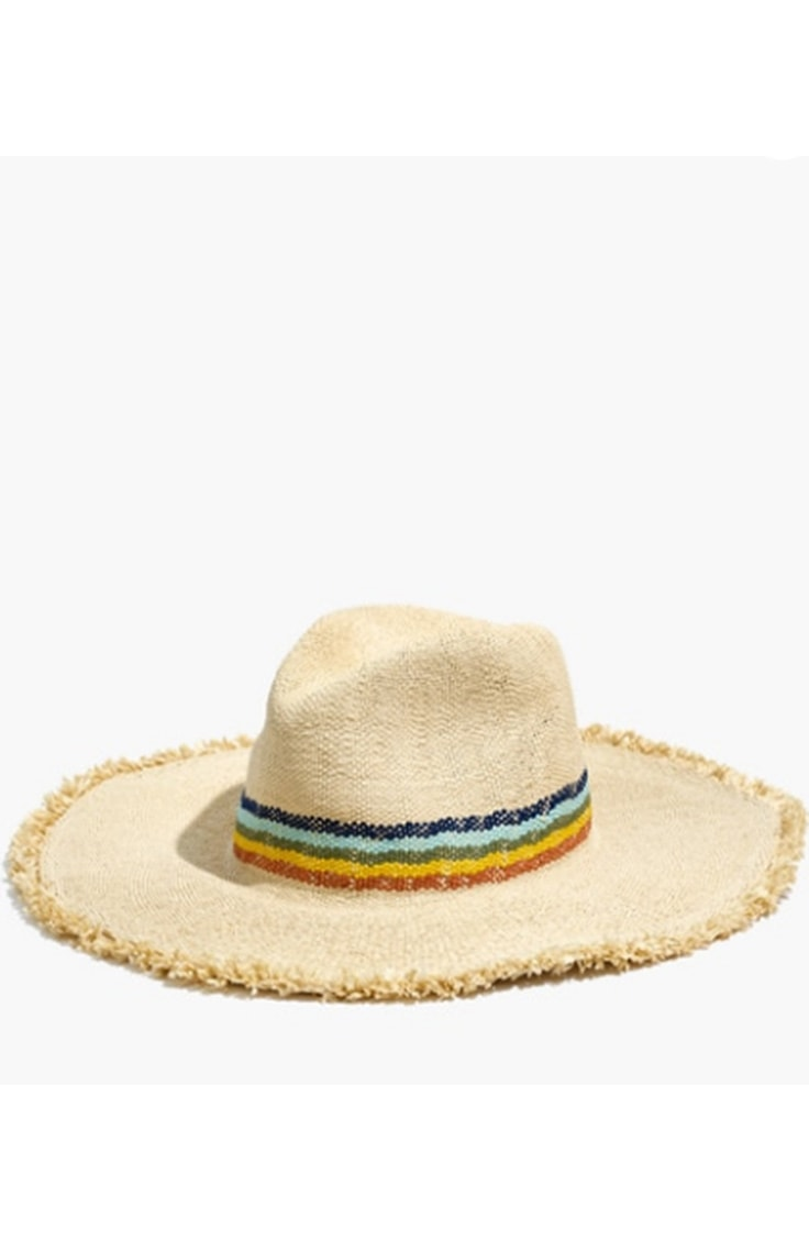 Mothers day gift idea under $40: Madewell rainbow brimmed straw hat