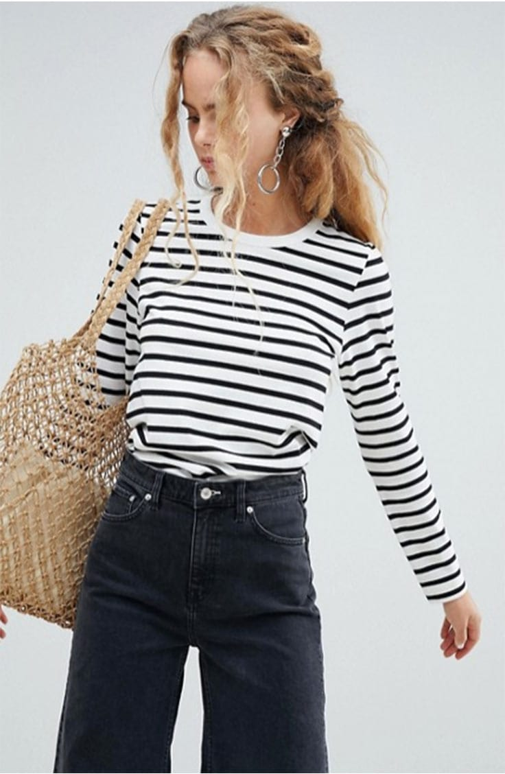 Spring transition pieces: Striped t-shirt top