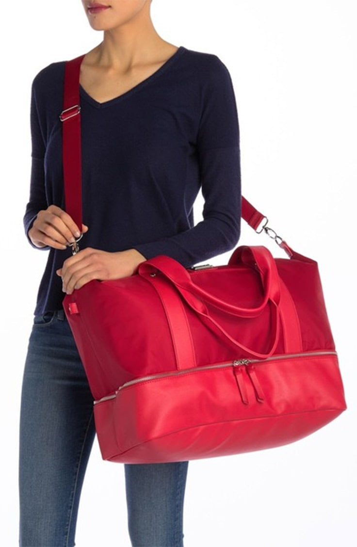 Red weekend duffle bag