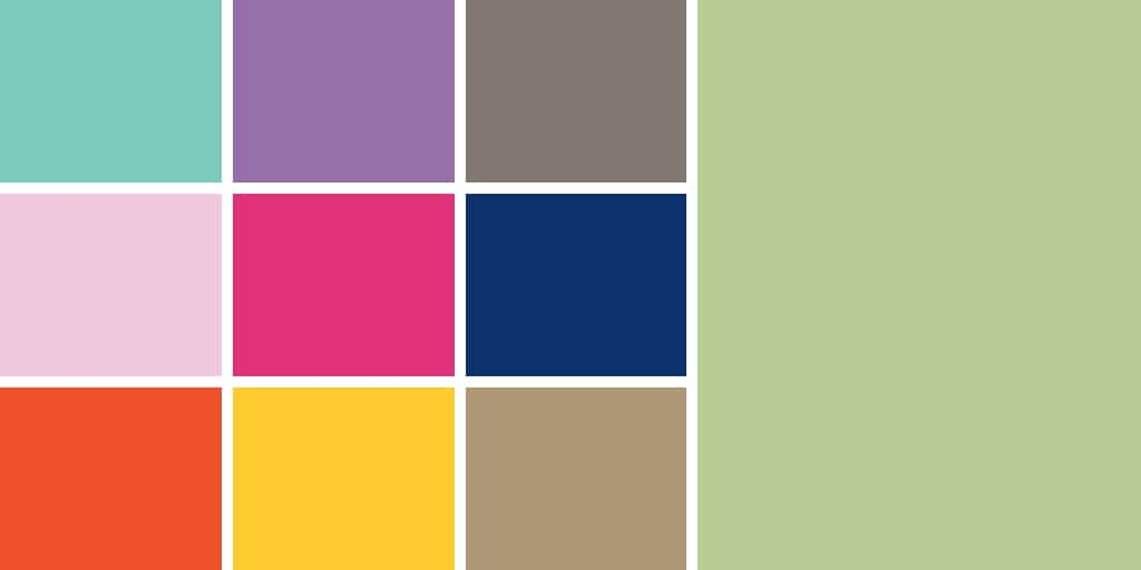 Grid of 10 colors — Pantone's spring color trends of 2012