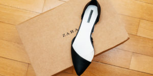 ZARA shoe on wooden floor