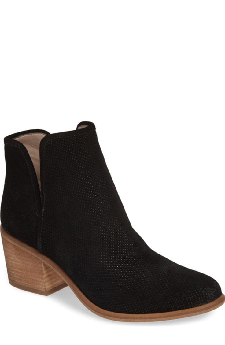 Black block-heeled ankle bootie