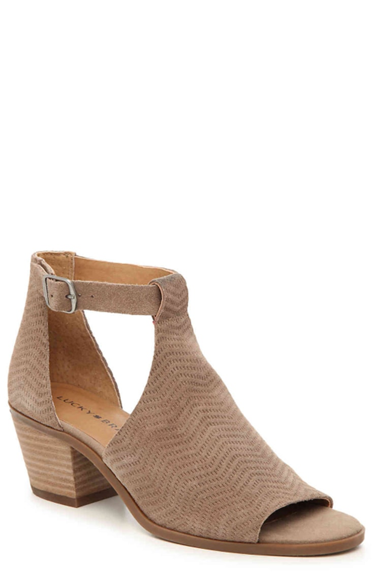 Taupe ankle boots with ankle strap and open toe
