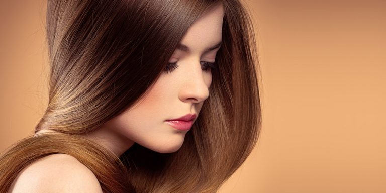 Girl with shiny brown hair