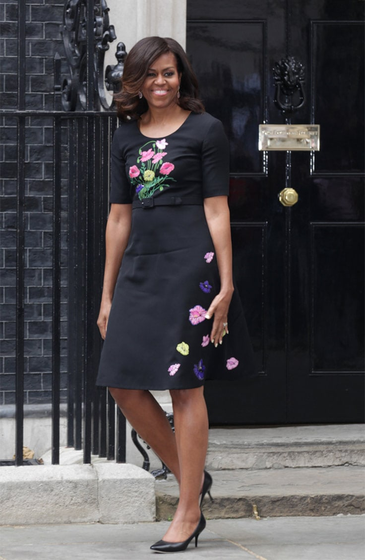 Michelle Obama black floral dress
